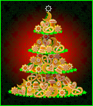 Greeting card with Christmas tree made of Baltic national cookies, vector cartoon image.