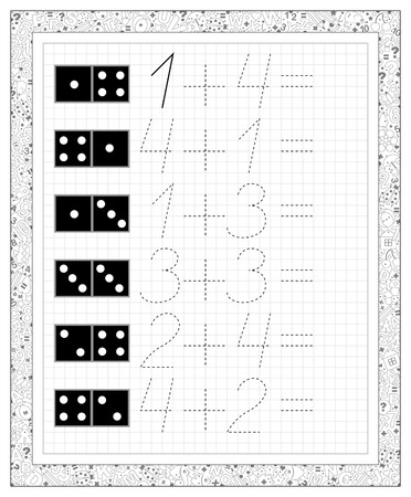 Black and white worksheet on a square paper with exercises for little children. Page with the task on addition. Developing skills for writing and counting. Vector image. 向量圖像