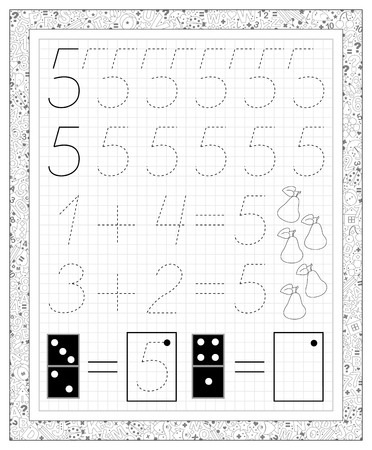 Black and white worksheet on a square paper with exercises for little children. Page with number five. Developing skills for writing and counting. Vector image.