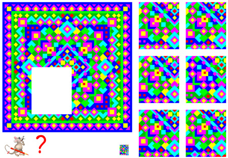 Logic puzzle game for children adults. Find and draw missing piece that corresponds to pattern. Vector  cartoon image.  イラスト・ベクター素材