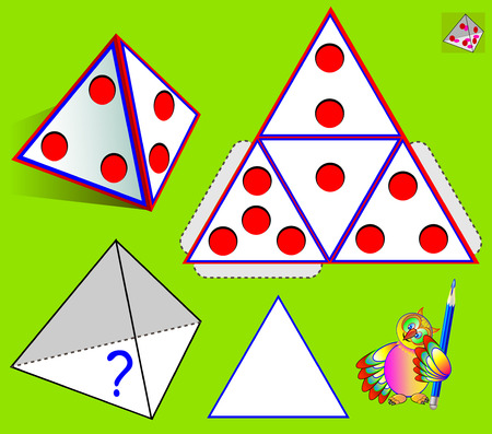 Logic puzzle game. What is painted at the bottom of the pyramid according to pattern? Vector cartoon image. Stock Illustratie