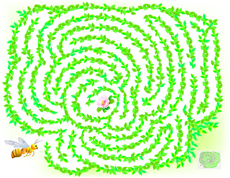 Logic puzzle game with labyrinth for children and adults. Help the bee find the way till the flower. Vector image. Ilustrace