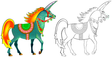 Colorful and black and white pattern for coloring. Illustration of imaginary antique unicorn. Worksheet for children and adults. Vector image. Illustration
