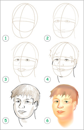 Page shows how to learn step by step to draw a head. Developing children skills for drawing and coloring Vector image. Vectores