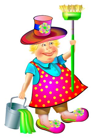Illustration of joyful sweeper with broom and bucket, vector cartoon image. Illustration