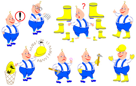 Set of illustrations with rules of labor protection vector cartoon image.