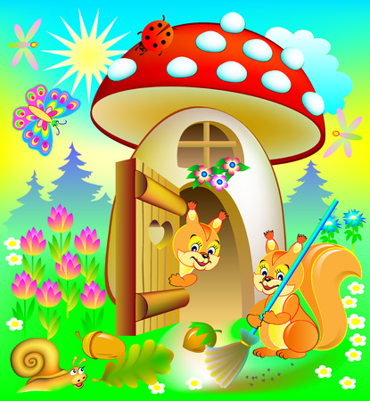 Happy squirrel cleaning his house, illustration for children's book.  Vector cartoon image. Stock Illustratie