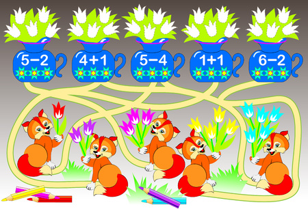 Worksheet with exercises for children on addition and subtraction. Solve examples and color the corresponding number of flowers. Draw the path from the bouquet to the vase vector image.