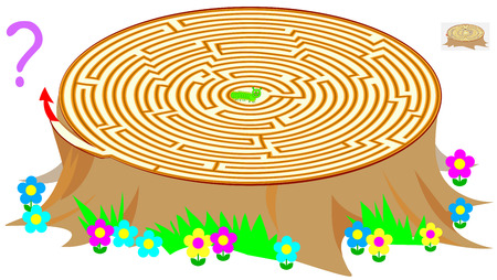 Logic puzzle game with labyrinth for children and adults. Help the worm find the way out of the stump vector image.