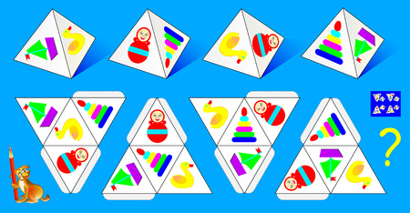 Logic puzzle game for children and adults. Which pattern corresponds to each of the pyramids vector image. Illustration