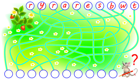 Logic puzzle game for study English. Need to find the correct places for the letters, write them in relevant circles and read the word vector cartoon image.