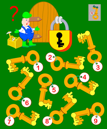 Logic puzzle game for children and adults. Help the worker find the correct key and open the lock vector cartoon image.