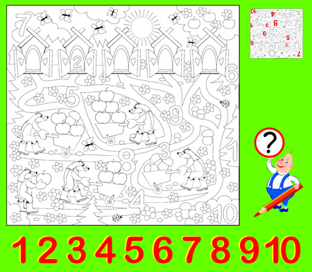 Educational page for young children. Need to find the hidden numbers and paint them. Developing skills for counting and coloring vector image.