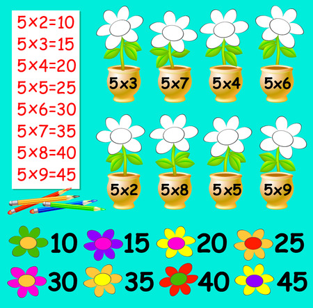 Exercise for children with multiplication by five. Need to paint the flowers in relevant color. Developing skills for counting. Vector image.