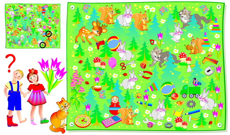 Logic puzzle game for kids. Children have lost their shoes in the forest. Need to help them find the second pairs. Vector cartoon image.