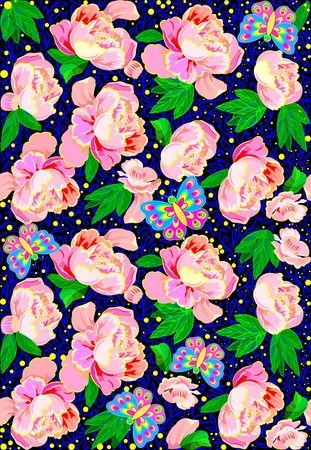 Seamless pattern with flowers and butterflies, vector cartoon image. Фото со стока - 96541718