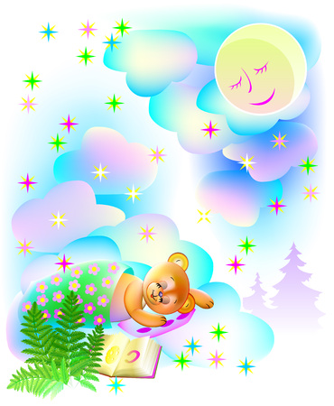 Illustration of teddy bear sleeping and dreaming at night, vector cartoon image. Vectores