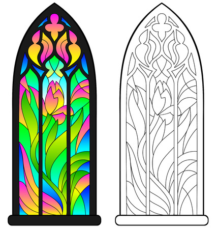 Colorful and black and white pattern of Gothic stained glass window. Worksheet for children and adults Vector image. Иллюстрация