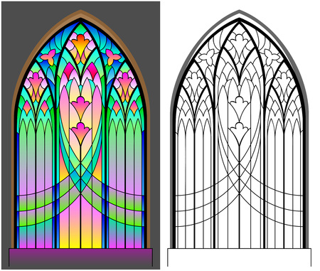 Colorful and black and white pattern of Gothic stained glass window. Worksheet for children and adults Vector image. Stock Illustratie