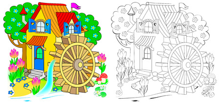 Illustration of fairyland toy water mill. Colorful and black and white pattern for coloring. Worksheet for children and adults.
