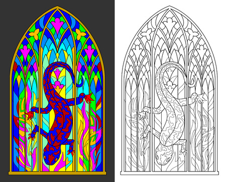 Colorful and black and white pattern of Gothic stained glass window with salamander and flames. Worksheet for children and adults.