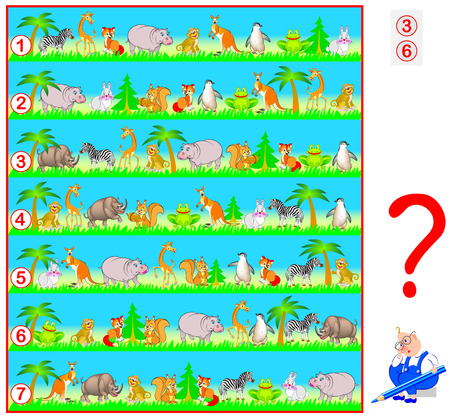 Logic puzzle game for children and adults. Need to find two lines with identical set of animals. Illustration