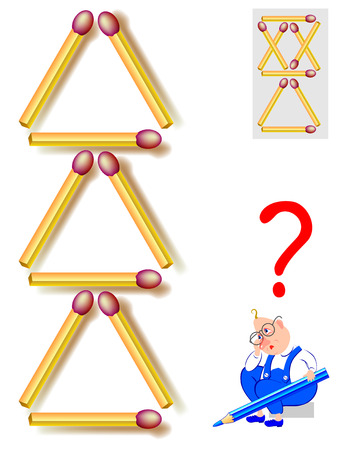 Logic puzzle game. Move two matchsticks to make seven triangles. Vector image. 일러스트
