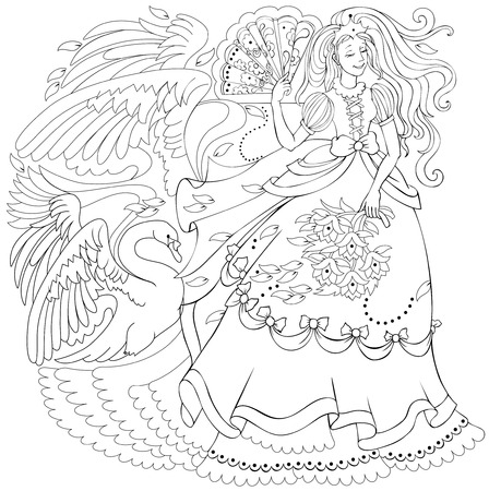 Black and white page for coloring. Drawing of fairy holding fan and fairyland swan. Worksheet for children and adults. Vector image. Ilustração