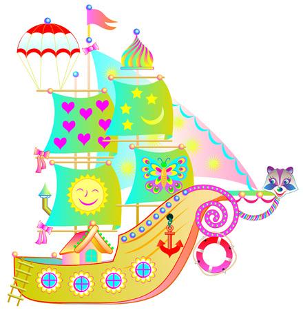 Illustration of fantasy toy ship on a white background. Vector cartoon image. Иллюстрация
