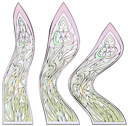Set of fantasy windows with stained glass done in Postmodernism style. Vector image. Illustration