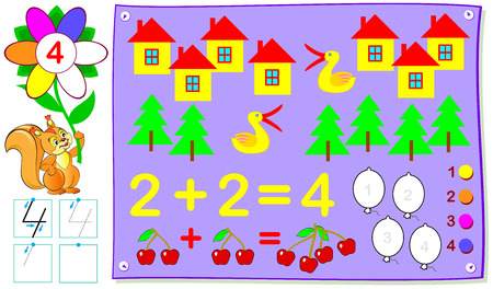 Educational page for young children with number four. Vector cartoon image. 일러스트