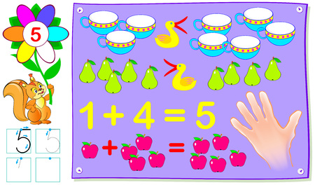 Educational page for young children with number five. Vector cartoon image. 矢量图像