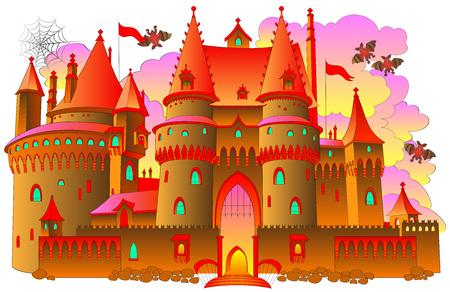 妖精のファンタジー城、ベクター漫画の画像のイラスト。