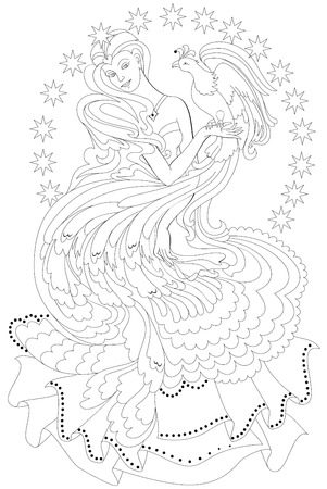 Black and white page for coloring. Fantasy drawing of beautiful fairy with firebird. Worksheet for children and adults. Vector image.