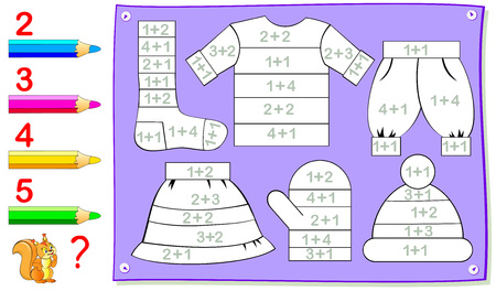 Educational page for young children with exercises on addition. Need to solve examples and paint the clothes in corresponding colors. Vector cartoon image.
