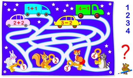 Educational page with exercises for children on addition and subtraction.  Help the animals find their cars. Solve examples and draw the way. Vector image.