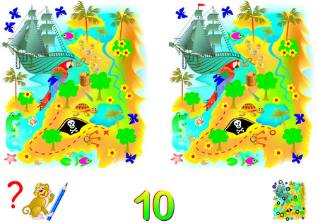 Logic puzzle game for children and adults. Need to find 10 differences. Developing skills for counting. Vector cartoon image.