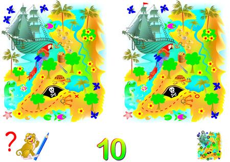 Logica puzzelspel voor kinderen en volwassenen. Moet 10 verschillen vinden. Tellen ontwikkelen. Vector cartoon afbeelding. Stockfoto - 97418223
