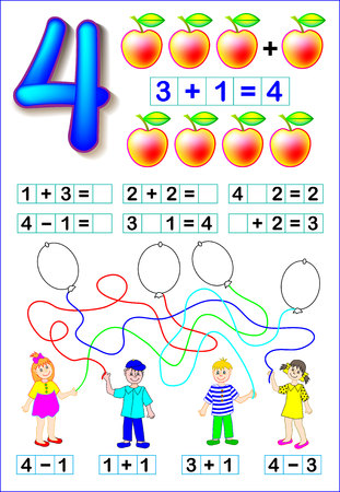 Educational page for children with number 4. Developing skills for counting and writing. Vector image.