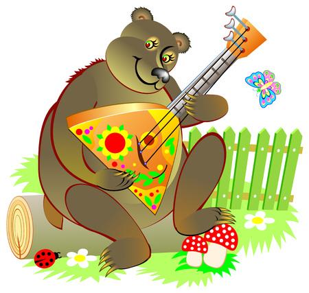Illustration of cute Russian bear playing a balalaika. Vector cartoon image.