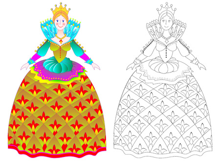 Colorful and black and white pattern for coloring. Illustration of beautiful medieval princess in elegant dress. Worksheet for children and adults. Vector image. Illustration