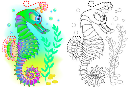 Colorful and black and white pattern for coloring. Illustration of fairy tale seahorse. Worksheet for children and adults. Vector image.