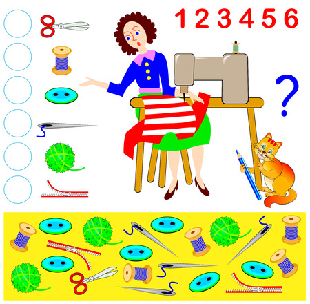 Logic exercise for young children. How many objects the cat has stolen from the dressmaker Count the quantity and write the numbers in corresponding circles. Vector cartoon image.