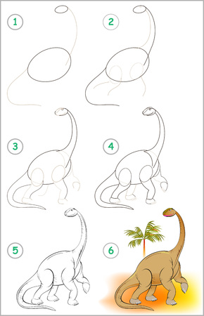 Illustration shows how to learn step by step to draw a cute dinosaur.