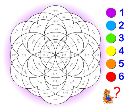 Educational page with exercises for children on addition and subtraction. Vettoriali