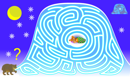 Logic puzzle game with labyrinth for children and adults. Help the bear find the way in the snow till his burrow. Vector image. Stock Illustratie