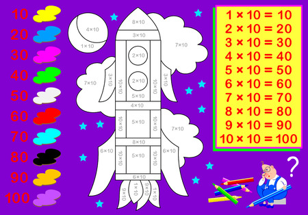 Worksheet with exercises for children with multiplication by ten. Need to solve examples and paint the picture in relevant colors. Vector cartoon image. Vettoriali