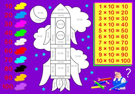 Werkblad met oefeningen voor kinderen met vermenigvuldiging met tien. Moet voorbeelden oplossen en de afbeelding in relevante kleuren schilderen. Vector cartoon afbeelding.