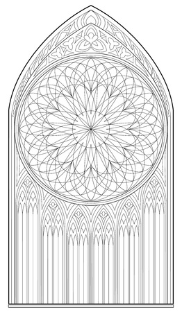 Black and white page for coloring. Drawing of medieval Gothic window with stained glass and rose. Worksheet for children and adults. Vector image.