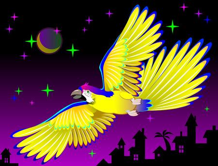Illustration of fantasy flying parrot, vector cartoon image.